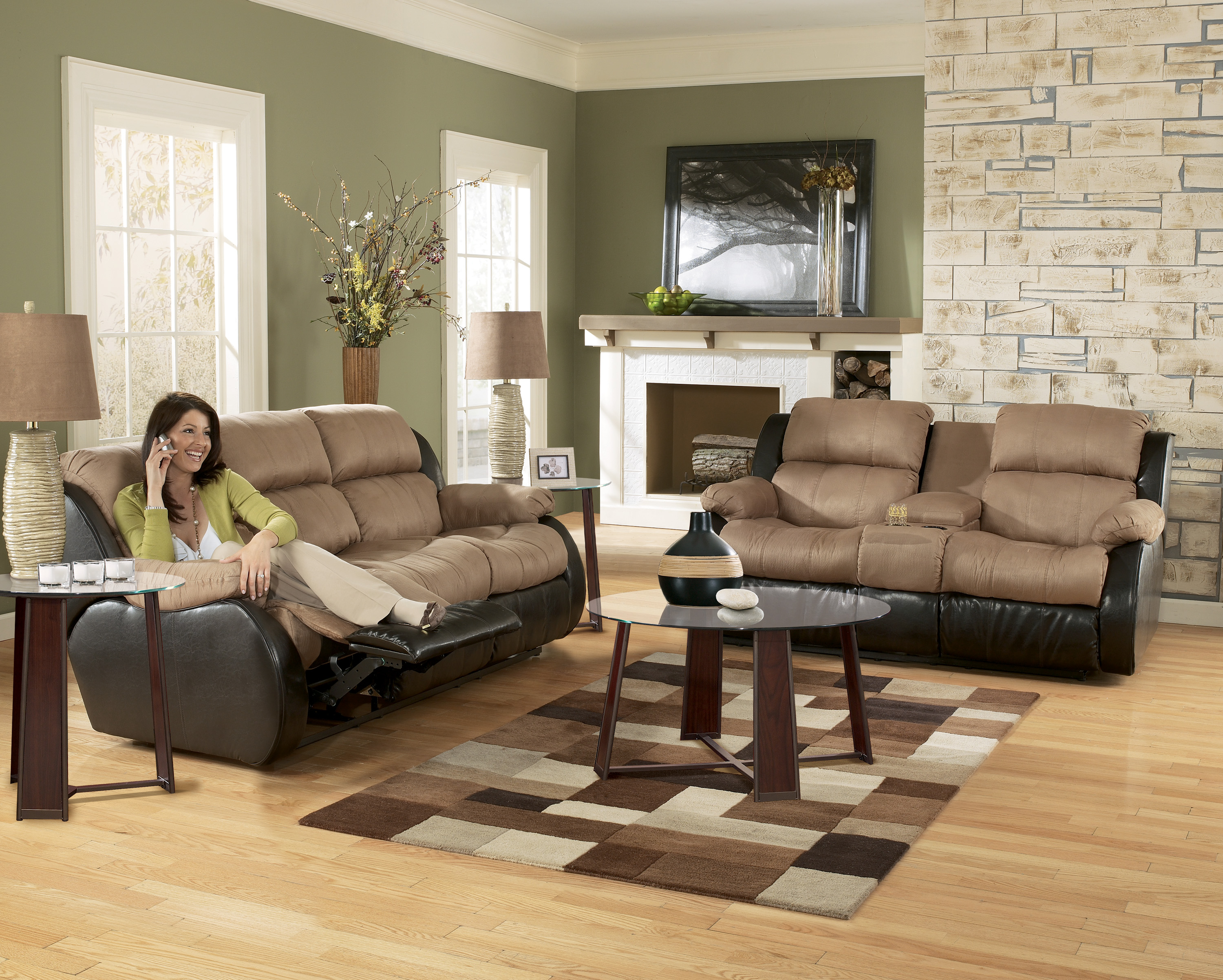 Ashley furniture presley 31501 cocoa living room set for Living room furniture collections