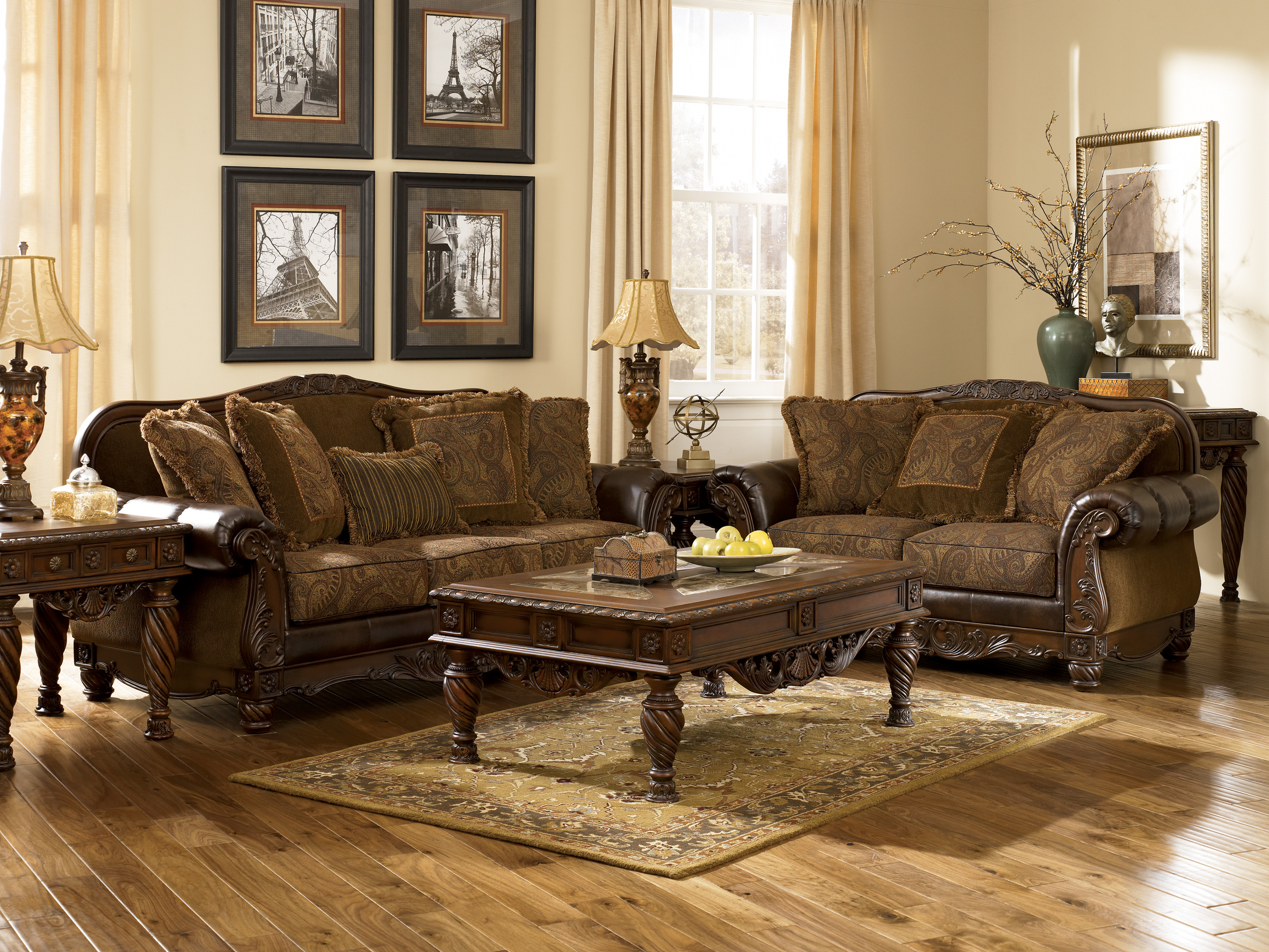 Ashley furniture fresco 63100 durablend antique living for Living room furniture collections